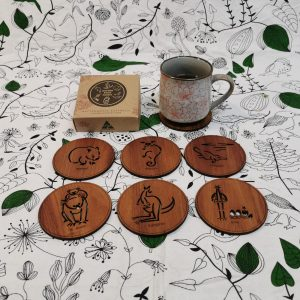 Wooden coasters with Australian animals