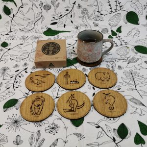 Wooden coasters with engraved Australian animals