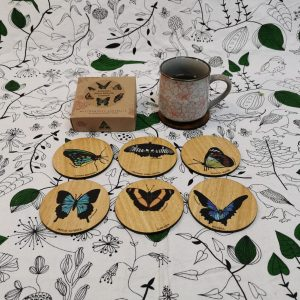 Native butterfly printed wooden coasters