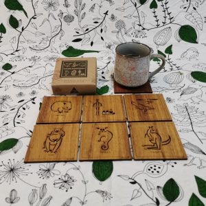 Square shaped coasters with Australian animal designs on top
