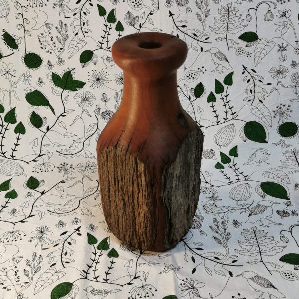 Rustic tall wooden vase