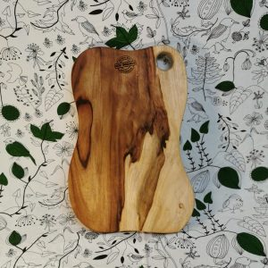 Textured long wooden cutting board