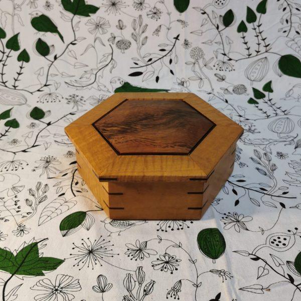Hexagon timber Jewellery box