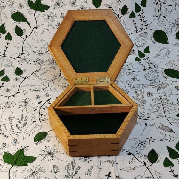 3- divider hexagon timber jewellery box