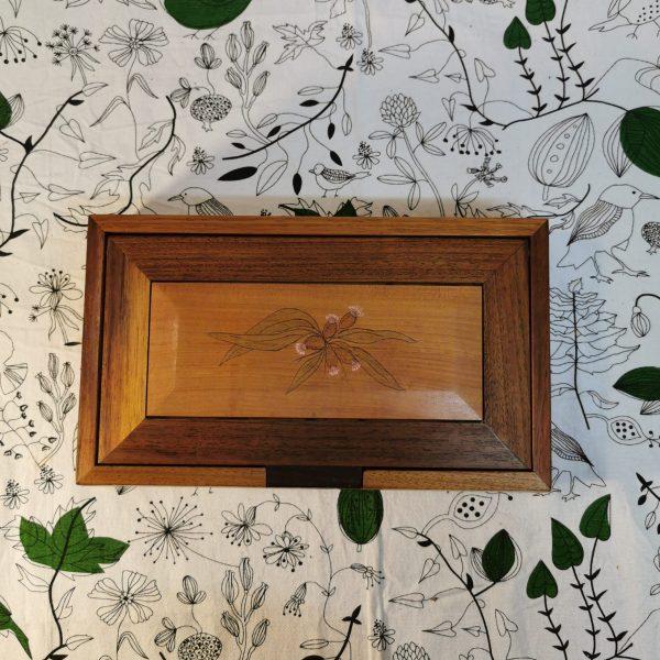 Top view rectangular wooden jewellery box