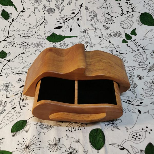 Wooden drawer jewellery box top view