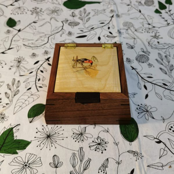 Wooden flap square jewellery box top view
