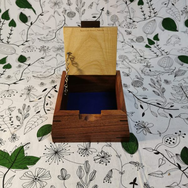 Chained square wooden jewellery box